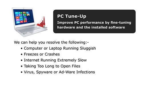 Tune-up for slow, sluggish or poorly performing computers.
